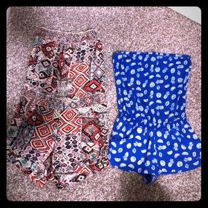 2 strapless rompers